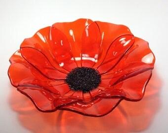 Fused Glass Orange Poppy Bowl