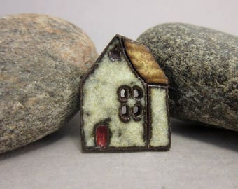 Rustic Ceramic House Button...The Witch Cottage...Brown Roof