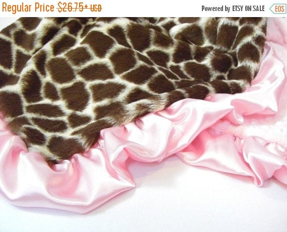 SALE Pink Giraffe Minky Baby Blanket for a Baby Girl Can Be Personalized