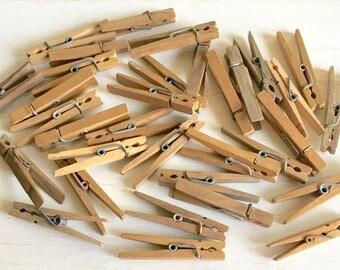 Antique Vintage Wooden Clothespins 33 Wood Clothes Pins 2 3 Dozen Farmhouse Style Decor Patina