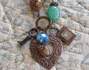 Beaded Copper Heart Charm Necklace - Turquoise Green And Tan