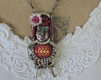 Art Doll Assemblage Necklace, Ruby Tuesday, Trash To Treasure Necklace - REDuCED