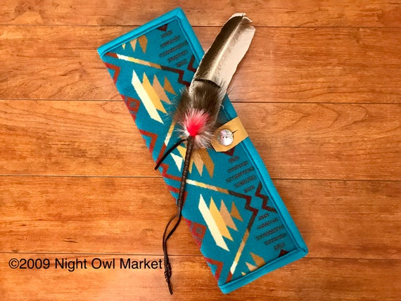 Feather Holder / Feather Case XL Wool Turquoise Coyote Butte