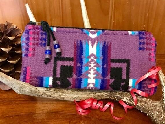 Wool Sunglasses Case / Glasses  Case / Tampon Case / Zippered Pouch Purple Mini Chief Joseph