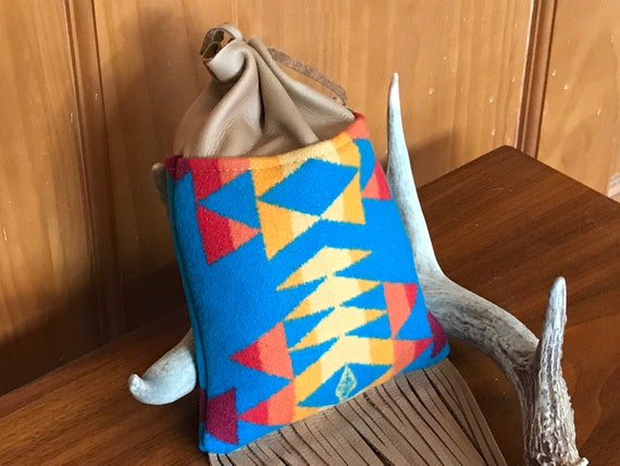 Fringed Cedar Bag / Medicine Bag / Possibles Bag 2XL Wool & Leather Turquoise Overall