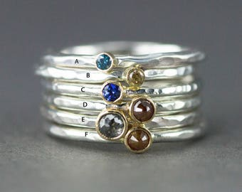 Diamond or Sapphire Stack Ring in 18k Gold and Sterling - Rose Cut or Faceted