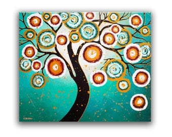 Original Tree of Life Painting on Canvas Turquoise Tree Wall Art Whimsical Bedroom Decor