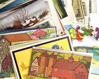 Vintage Greeting Cards, Unused Vintage Cards 1980's - 1990's over 1 1/2 lbs - Destash Cards