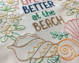 Life is Better at the Beach - wreath - embroidered quilt block - ready to sew or frame 9 inch square / gift for her / sewist / DIY / shell