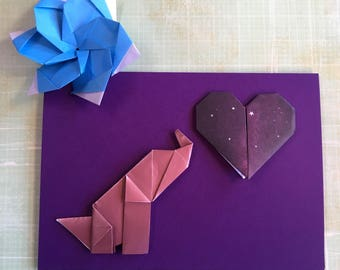 Origami large greeting card - galaxy heart with elephant (purple)