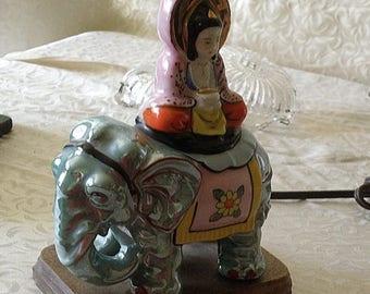 PREHOLIDAYSALE Buddha On Elephant Japanese Lustreware Electric Table Lamp