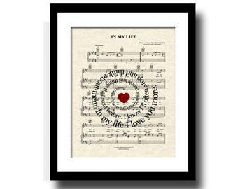 In My Life Song Lyric Sheet Music Art Print, Spiral Word Art, Custom Wedding Gift, Custom Anniversary Gift, Names and date Art Print