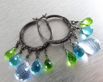 25 OFF Blue Topaz Gemstone Hoop Earrings