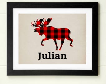 Baby boy nursery wall art woodland nursery moose print red black buffalo plaid forest animal nursery decor personalized baby gift for baby