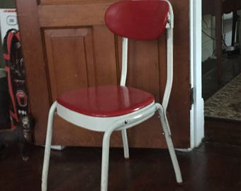 REDUCED SHIPPING Vintage Mid Century Modern Cosco Adjustable Back Task Work Red White Chair