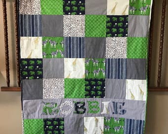 Safari Themed Personalized Baby Quilt Boy - Blanket -  - Woodland Crib Size - Animals - Green Blue - Elephants - Zebra - Giraffe - Arrows