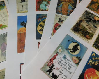 Five Handmade Pages of Vintage Look Halloween Themed Stickers - Paper Ephemera