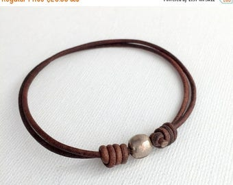 Rustic Brown Leather Anklet / Bracelet.  African Coin Silver and Antiqued Leather. Adjustable.