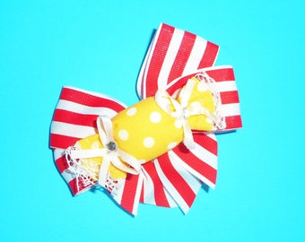 Red and White Stripe Candy Bow Barrette