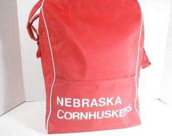 Vintage Nebraska Cornhuskers Travel Bag 1960s Airline Bag Vintage University of Nebraska Huskers Shoulder Bag Overnight Bag Carry On Bag