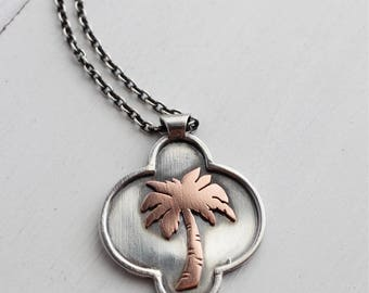 Palm tree pendant, Handmade by Hapagirls, Boho Chic, Tropical jewelry, palm trees, sterling silver and copper