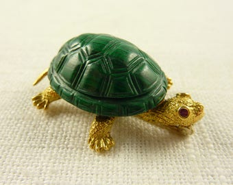 Vintage 18K Gold Carved Malachite Turtle Brooch with Ruby Eyes