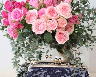 HALF PRICE SALE Dark Navy Blue Peony Lace Clutch + gold frame - Bridesmaids Mother of the Bride Groom Clutch Ready to ship