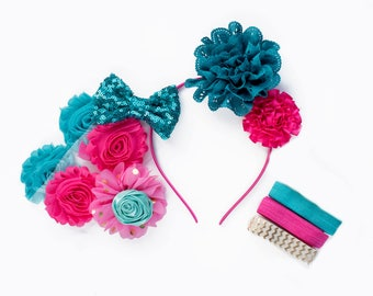 Lizzie : Hot Pink + Teal DIY DELUXE  Headband + FOE Kit Makes 5+ Accessories  |  Chiffon Flowers Fold Over Elastic | Princess Birthdays