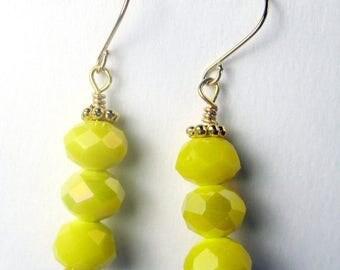 SALE, 50%, Bright yellow czech rondel triple drop earrings, sunshine yellow earrings, holiday earrings, gold earrings, czech glass yellow ea