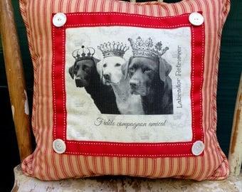 Labrador Retriever Pillow| French Country Decor | Farmhouse Decor | Linen Print on Pillow | Vintage dog art on pillow