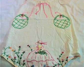 Vintage Apron, VintageFull Apron, Hand Embroidery, Southern Bell, apron with embroiddery, handmade apron