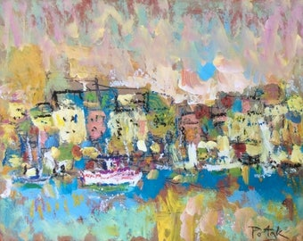 Expressive abstract seascape painting featuring an expressionist seaport and harbor with boats