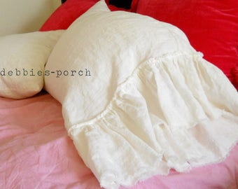 1 of LILY...PILLOW COVER....tube style with frayed large ruffle linen