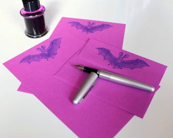 purple bat stationery set - limited edition - pretty great for Halloween missives - giant bats for your batophilic letter writing friend