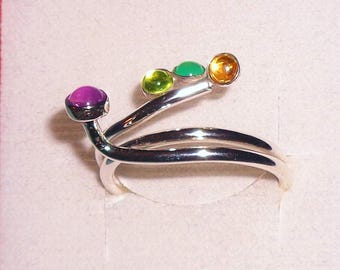 Multi Stone Sterling Silver Ring Amethyst Chalcedony Citrine Peridot