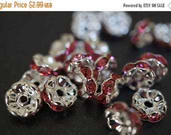 SUMMER SALE Silver Plated Rhinestone Rondelle Spacers with Rose Pink Crystals (Curved Round) - 8mm - 12 pcs