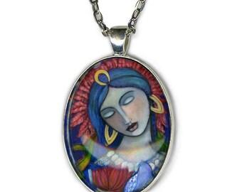 Goddess Ixchel - statement necklace - Goddess Jewelry - goddess art - girlfriend gift - gifts for her - mayan goddess - moon goddess