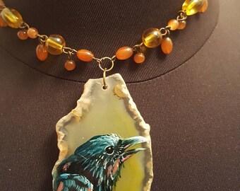 handpainted crow raven agate pendant necklace