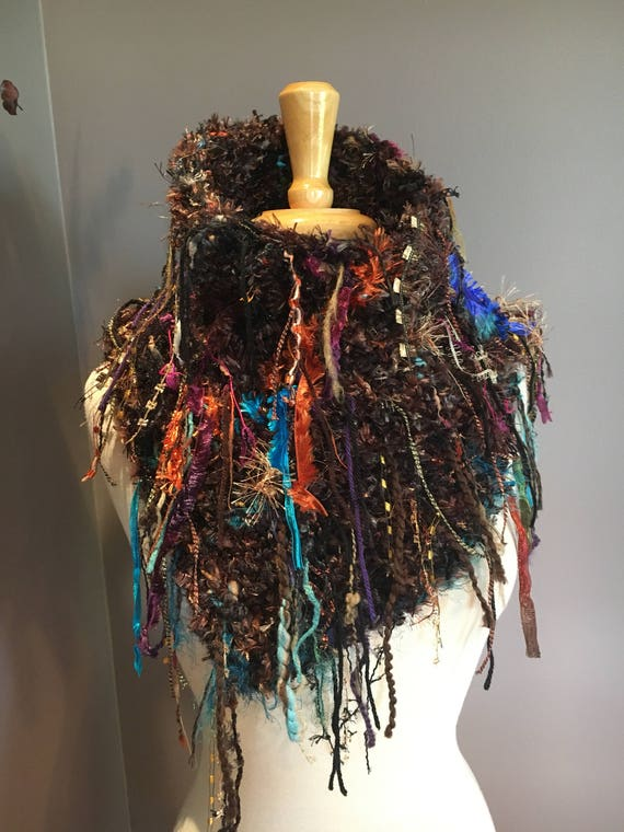 Knit handmade Shag Artistic Poncho with tall Cowl neck, Shoulder Wrap, 'Canyon', Fringed Poncho, black brown blue purple poncho, bohemian