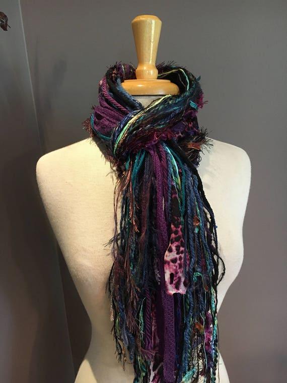 Fringe Scarf, Jewel Cheetah Fringie,  hand-tied fringe scarf, black brown, blue purple aqua, cheetah print scarf, boho