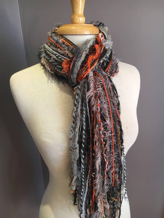 Art yarn scarf, Fringie in Embers, Fringe Scarf, Multitextural fringe scarf in grey rust black, boho chic, funky scarf, Harley Davidson