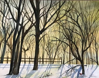 Original Watercolor Painting with a Early Sunrise by Janet Dosenberry Showing Morning Light,Hues of Yellow & Light Blue amongst the Trees
