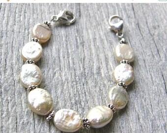 Summer Sale 20% Off Champagne Pearl Medical ID Bracelet, Cream or Ivory Alert Bracelet, Sterling Silver Clasp Replacement Bracelet