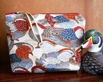 Mandarin Duck  Make Up / Cosmetic / Coin /  Cell Phone / Wristlet / Pouch / Organizer