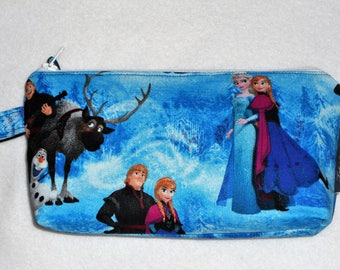 Frozen Pencil Case with Key Ring / Elsa Anna Olaf Sven / Sisters / School / Storage /Party Favors