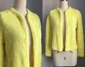 Vintage 1950s NOS Lemon Yellow Cardigan Sweater Size Medium