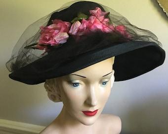 Vintage 1940s Black Wide Brim Hat with Pink Millinery Roses