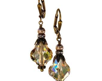 Vintage Golden Shadow Baroque Crystal Earrings with Crystal from Swarovski, Bridal Crystal Earrings