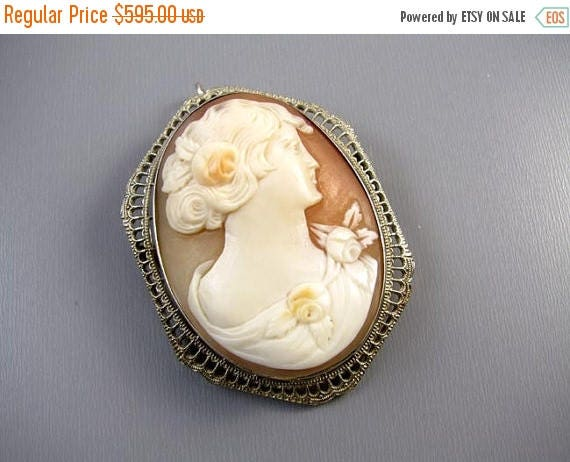 ANNUAL CAMEO SALE Vintage Art Deco 14k white gold filigree cameo brooch pin pendant necklace signed Esemco Shiman