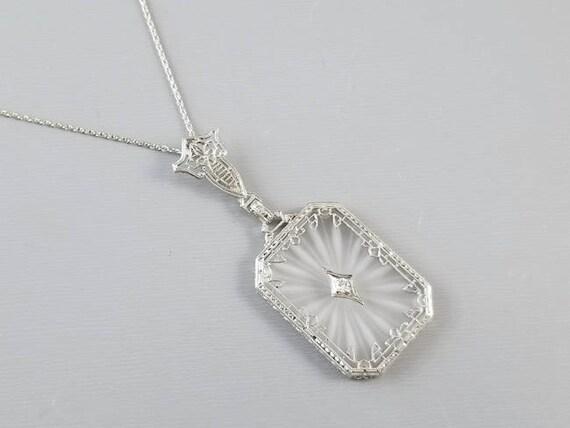 Gorgeous 14k white gold antique Art Deco 1920s camphor glass and diamond filigree pendant necklace